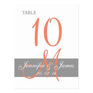 Tarjeta coralina gris de la tabla del boda del mon tarjetas postales