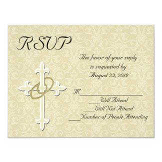 Tarjeta cristiana de RSVP de los anillos que se Invitación 10,8 X 13,9 Cm