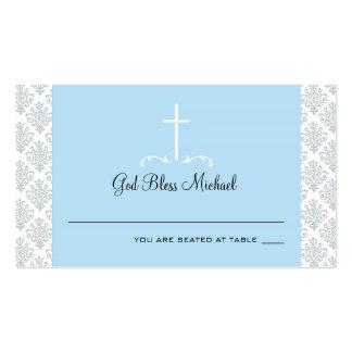 Tarjeta cruzada azul clara del asiento del damasco plantillas de tarjetas personales