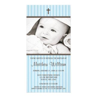 Tarjeta cruzada de la foto del bautismo del muchac tarjetas fotográficas personalizadas