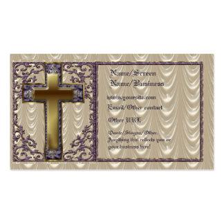 Tarjeta cruzada púrpura de la introducción tarjetas de negocios