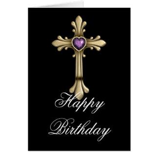 Tarjeta cruzada púrpura de oro del feliz cumpleaño