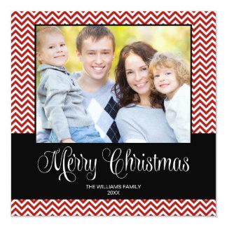 """Tarjeta cuadrada de la foto del navidad negro rojo invitación 5.25"""" x 5.25"""""""