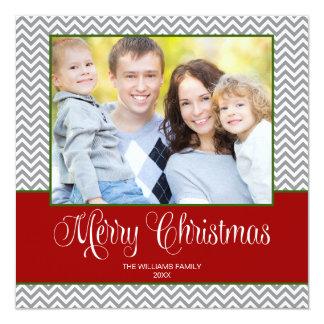 """Tarjeta cuadrada de la foto del navidad verde gris invitación 5.25"""" x 5.25"""""""