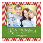Tarjeta cuadrada de la foto del navidad verde rojo comunicados personalizados