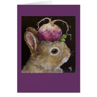 tarjeta cubierta con sombrero del bollo del nabo