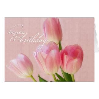 Tarjeta Cumpleaños-Rosada feliz de los tulipanes