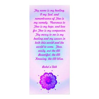 Tarjeta curativa del estante del rezo de Baha'i Lonas Personalizadas