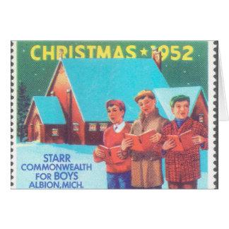 Tarjeta de 1952 memorias del navidad