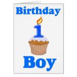 Tarjeta de 1 año del muchacho del cumpleaños