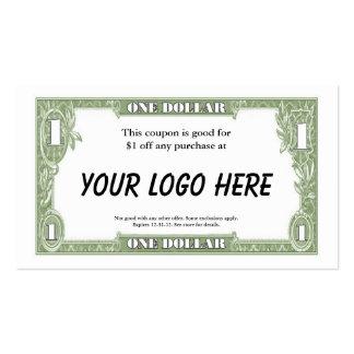 Tarjeta de $1 cupones tarjetas de visita