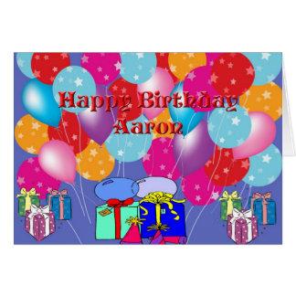 Tarjeta de Aaron del cumpleaños