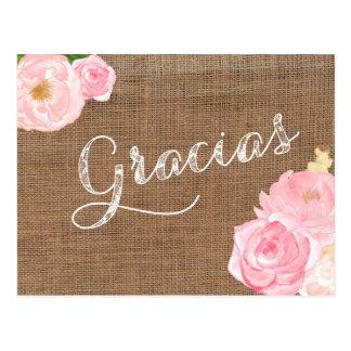 tarjeta de agradecimiento, arpillera gracias postcard