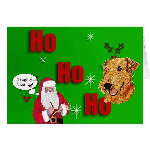 Tarjeta de Airedale Terrier Ho Ho Ho