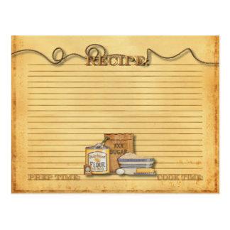 tarjeta de antaño de la receta tarjetas postales