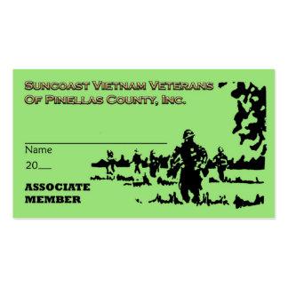 Tarjeta de Assoc Mbr de los veteranos de Suncoast Tarjetas De Visita