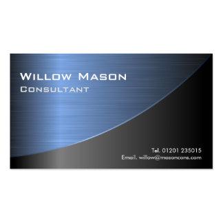 Tarjeta de autobús de acero azul cepillada negro tarjetas de visita