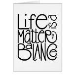 Tarjeta de balanza de la vida