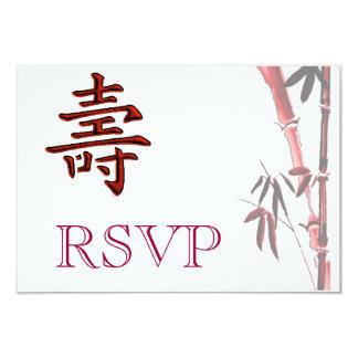 Tarjeta de bambú asiática de la longevidad del invitación 8,9 x 12,7 cm