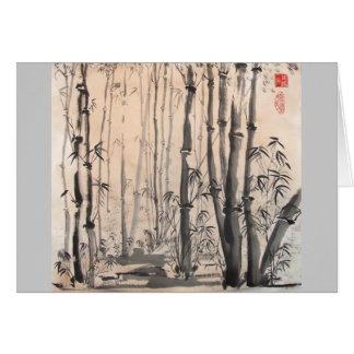 Tarjeta de bambú sombría del bosque