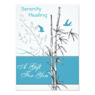 """tarjeta de bambú y azul del vale de los pájaros invitación 5.5"""" x 7.5"""""""