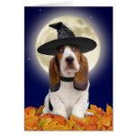 Tarjeta de Basset Hound Halloween