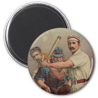 Tarjeta de béisbol de antaño circa 1895 imán redondo 5 cm