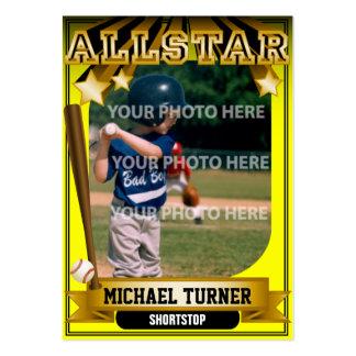Tarjeta de béisbol de encargo amarilla de ALLSTAR Tarjetas De Visita Grandes