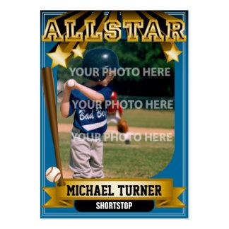 Tarjeta de béisbol de encargo azul de ALLSTAR Tarjetas De Visita Grandes