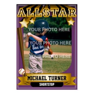 Tarjeta de béisbol de encargo púrpura de ALLSTAR Tarjetas De Visita Grandes