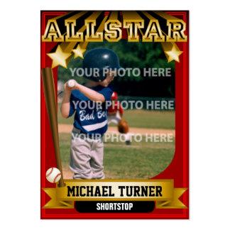 Tarjeta de béisbol de encargo rojo oscuro de tarjetas de visita grandes
