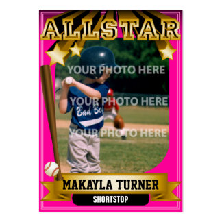 Tarjeta de béisbol de encargo rosada de ALLSTAR Tarjetas De Visita Grandes
