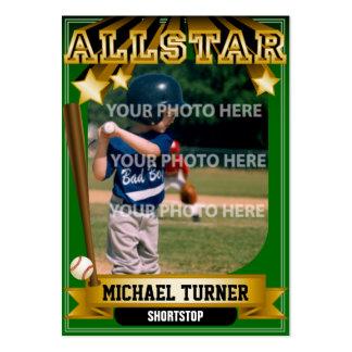 Tarjeta de béisbol de encargo verde de ALLSTAR Tarjetas De Visita Grandes