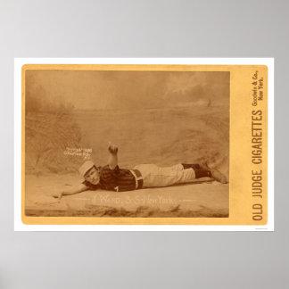 Tarjeta de béisbol de la sala de Monte 1889 Póster