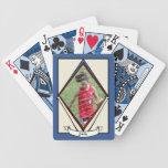 Tarjeta de béisbol del vintage con la foto baraja cartas de poker