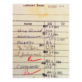Tarjeta de biblioteca 23322 postal