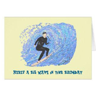 Tarjeta de Bithday que practica surf