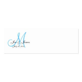 Tarjeta de BlueProfile del monograma de la fecha Tarjetas De Visita Mini