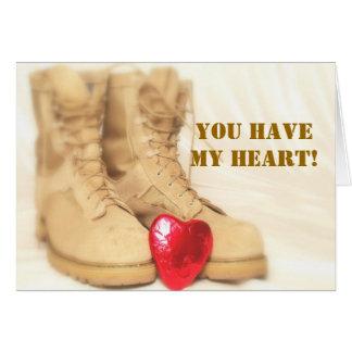 tarjeta de botas militar
