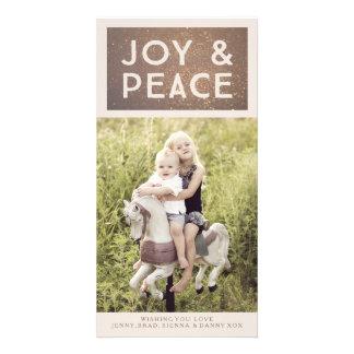 Tarjeta de bronce de la foto de Navidad de la Tarjeta Personal Con Foto