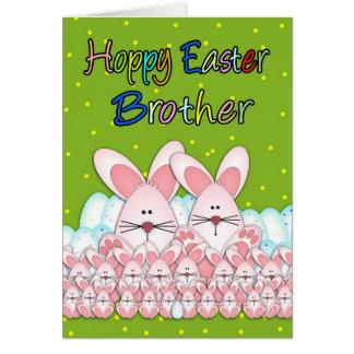 Tarjeta de Brother pascua con los conejitos y los