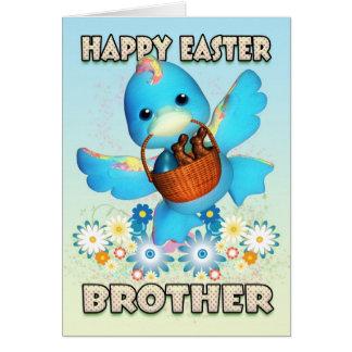 Tarjeta de Brother pascua - pato lindo con la cest