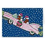 Tarjeta de Cadillac del navidad de Santas del Dach