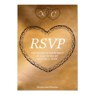 Tarjeta de cobre de RSVP de los corazones Anuncio Personalizado