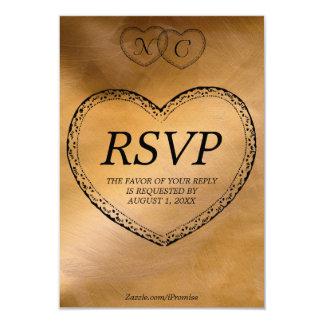 Tarjeta de cobre de RSVP de los corazones Invitacion Personal