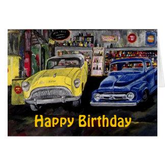 Tarjeta de coche clásica del feliz cumpleaños