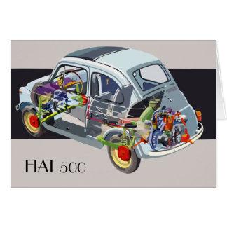Tarjeta de coche retra de Fiat 500 que camina el p