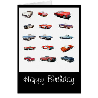 Tarjeta de coches del feliz cumpleaños