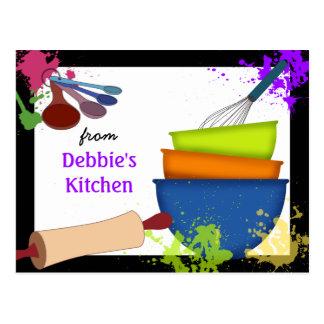 Tarjeta de cocinar colorida de la receta postal