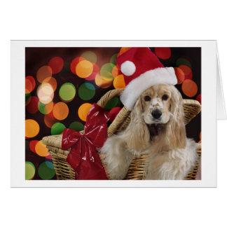 Tarjeta de cocker spaniel del navidad